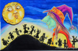 Trick or Treaters and Witch Illustration
